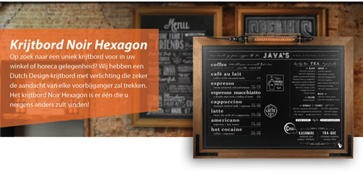 Krijtbord Noir Hexagon 70x90cm